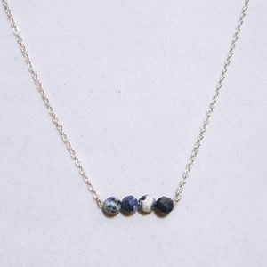 Nwt 925 Sterling Faceted Sodalite bar Necklaces